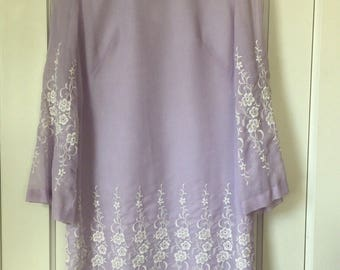 Vintage Lavender A-line Dress with Bell Sleeves