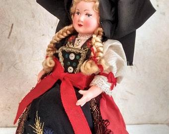 Francese in celluloide alsaziano costume bambola, bambola piega, vintagefr, Petitcollin, Francia, Alsazia