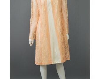 SALE - Vintage 60s Cocktail Dress Cream Satin Dress Orange Peach Lace Duster Jacket 1960s Party Dress Orange Lace Dress 60s Evening Dress M