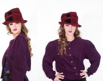 Cardigan Vintage GEIGER Austria Wool Sweater Purple // Vintage Sweaters by TatiTati Style on Etsy