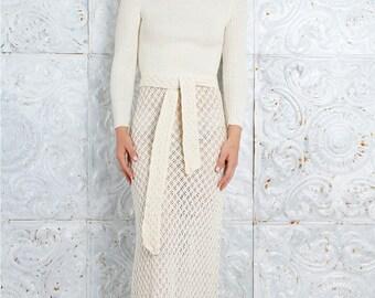 Vintage 60's Dress Body Hugging Sweater 1960s CREAM Rib Knit Maxi  // Vintage Clothing by TatiTati Style on Etsy