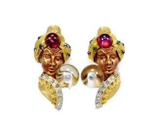 HAR Genie Earrings, Fortune Teller, Clip On Earrings, Vintage Jewelry, Har Jewelry, Book Piece, Crystal Ball, Estate Jewelry