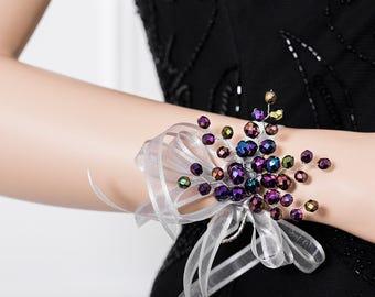 Iridescent Purple Corsage - Purple Wrist Corsage - Corsage -  - Wedding Corsage - Bridesmaid Corsage - Prom Corsage