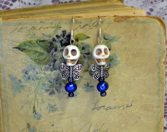 Charming White Skull Blue Pearl Dead Fairy Earrings Quirky Chic Jewelry