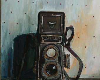 Vintage Rolleiflex Camera Original Oil Painting