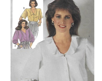 Simplicity 7562  Misses' 80s Blouse Sewing Pattern Size 10, 12, 14 Bust 32 1/2, 34, 36