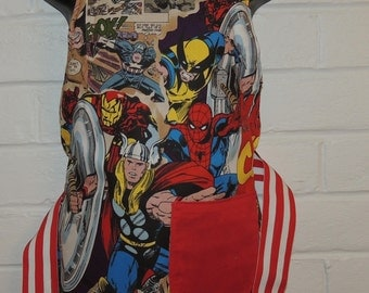 REVERSIBLE Child Marvel Comic Super Heroes Red Cooking Apron / Art Smock fits size 3, 4, 5, 6 and 7 kids kid pocket spiderman thor iron man