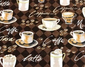 Coffee fabric, coffee cups fabric, kitchen fabric, mug rug fabric 100% cotton fabric for Quilting and general sewing projects.