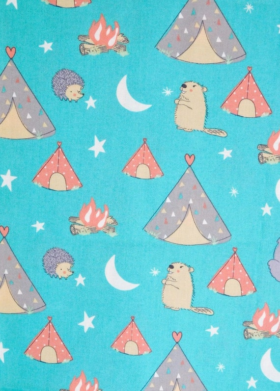 End of bolt 1 fat quarter of teepees fabric camping for Children s material sewing