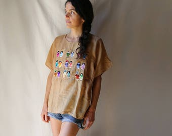 Mexican Embroidered Cotton Gauze T Shirt
