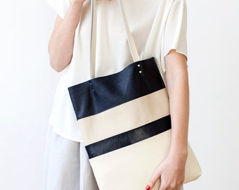 Clearance SALE Ivory Striped tote Leather Tote bag black navy blue