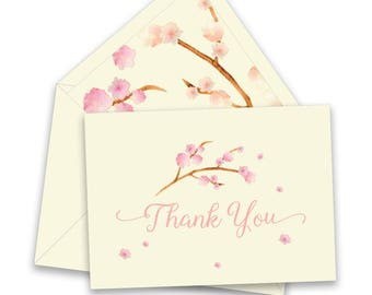 BOX OF 12 Cherry Blossom Thank You Notes