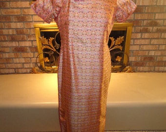 Vintage 60s Chinese Asian Oriental Coral Silk Wiggle Dress