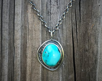 Textured sterling silver and turquoise necklace
