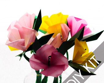 Origami DIY Kit - Wildflowers - Make your own Paper Flowers Kit -  Origami Instructions - Origami Paper Supplies - Art Craft Project