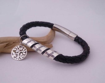Personalized Gift for Mom, Wife, BOLO leather bracelet, custom engraved handmade 925-silver jewelry, new Mommy jewelry, Friendship bracelet