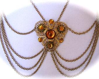 Vintage 60s 70s Ornate FESTOON STATEMENT Multi Chain Large Pendant Amber Yellow Glass Cabochons Olive Rhinestone Gold Tone Necklace