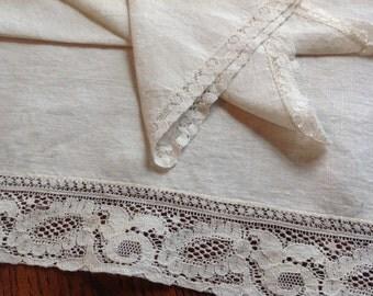 Vintage Tea Tablecloth- Napkins, Off White Linen, 50's , Tea cloth