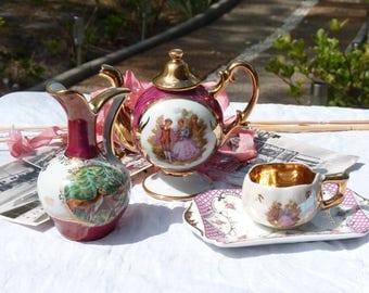 French Vintage Limoges Porcelain Home Decor Trinkets - Limoges Fragonard - Courting Couple Romantic Scene - Spring Vintage Finds