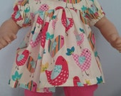 Birds with pink pants outfit for bitty baby doll