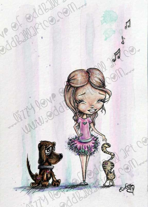 INSTANT DOWNLOAD Big Eye Girl Dances with Cat and Dog Digital Stamp - Norah's Dance with Cooper and Cruz Image No.364 by Lizzy Love