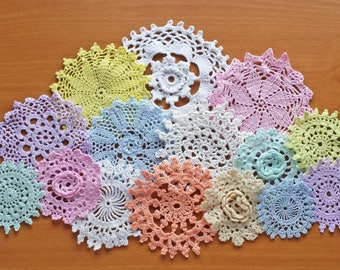 Rainbow of Light Colored Vintage Doilies, 15 of Pastel Hand Dyed Doilies, 2 to 5 inches, Crochet Mandalas for Crafts and Dreamcatchers