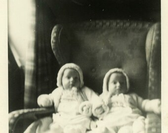 "Vintage Photo ""The Double Surprise"" Snapshot Antique Photo Old Black & White Photograph Found Paper Ephemera Vernacular - 163"