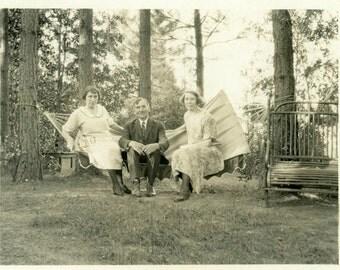 "Vintage Photo ""A Hammock for Three"" Snapshot Antique Photo Old Black & White Photograph Found Paper Ephemera Vernacular - 129"