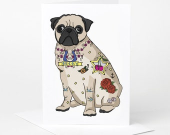 Tattoo Pug Card (pug birthday card, blank pug card, tattoo card, pug lover card, pug love card, pug celebration card)