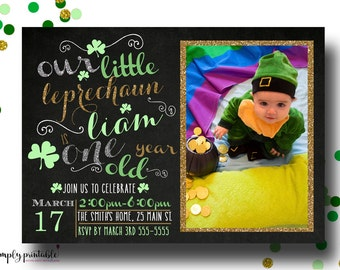 St. Patricks Birthday Invitation, Shamrock, Our Little Leprachaun Invitation, 1st Birthday