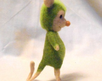 Small Needle Felted Green Critter Cutie - Leonardo - Free Shipping to US and Canada