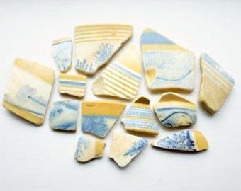 Sea Pottery, Mochaware Beach Pottery, Ceramic Shards, Set of 14