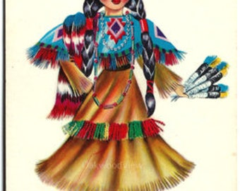 Indian Doll Color Postcard c1950s, Dolls of Many Lands Series, Southwest Western, Vintage Native American Ephemera, FREE SHIPPING