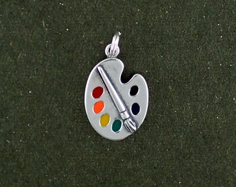 Sterling Silver Art Paint Palette Charm Pendant Multicolor Artist Hobby Craft