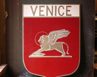 Vintage Shield Shaped Venice Sign - Handpainted in Red, White and Gold