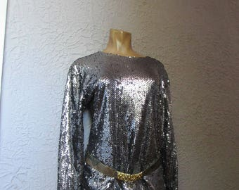 80's Vintage Bill Blass Silver Sequin Evening Blouse Large