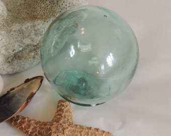 Vintage Japanese Glass Fishing Float 2.5 Inch Sky Blue & Rare Makers Mark (#28)