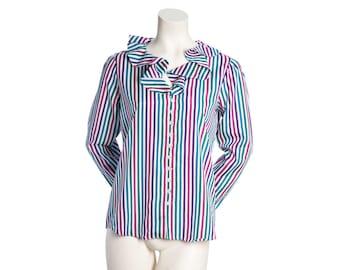 Vintage ruffle collar blouse -- striped button-down shirt -- elizabethan blouse -- size small / medium