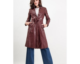 Vintage leather hooded trench coat / 1970s ox blood leather S