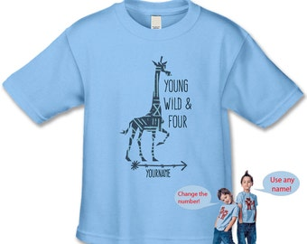 4th Birthday Shirt - Jungle Zoo Giraffe Birthday Party - Customize with your Name and Birthday number - Young Wild and Three Birthday Party