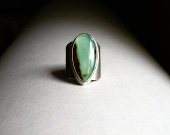 Sterling and Chrysoprase Ring - Earth Healing
