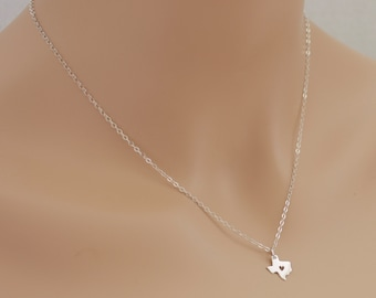 Texas Necklace, Texas Heart Necklace, Sterling Silver, Texas Jewelry, I Love Texas, Gift For Her, Gift Idea, Dainty Necklace, State Necklace