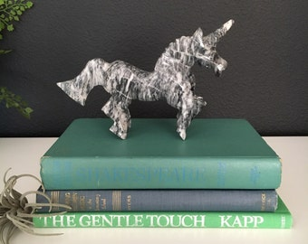 FREE Shipping - Vintage Marble Carved Unicorn - Magical Carved Creature - Would make the perfect gift!