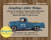 Men's Vintage Truck Birthday Invitation / surprise birthday invite with blue or red retro pickup / milestone birthday party / under the hood