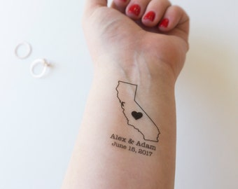 State Tattoos, Custom Tattoo, Personalized Tattoo, Wedding Tattoo, California Tattoo, Couple Tattoo, Reception Tattoo, Tattoo Wedding Favors