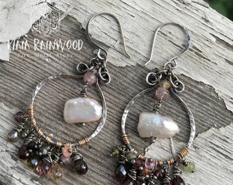 Tunduru sapphire, spinel and freshwater pearl earrings in hammered sterling silver