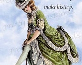 "ON SALE Well-Behaved Women Rarely Make History -- Marie Antoinette Inspired 4"" x 6"" Postcards by Pretty Girl Postcards - Free Shipping in US"