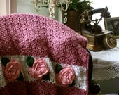 Elegant Victorian Rose Lapghan or Shawl, Pink and White Rose Appliqué Afghan with Fringe