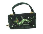 VINTAGE 1950s Green Velvet Dragon Purse Peacock Peafowl Handbag Sequins Beads Oriental Asian Pocketbook Evening Bag Christmas Nice Fun Gift