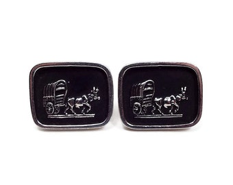 Large Black Vintage Cufflinks Bull Wagon Bullock Cart Painted Silver Plated Mens Formal Hipster Jewelry Mid Century